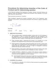 First page of Procedures for determining breaches of the Code of Conduct and for determining sanction