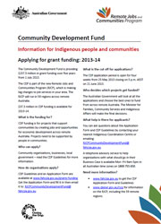 Community Development Fund - Indigenous Community Flyer Cover Image
