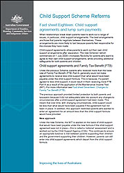 Fact sheet Eighteen: Child support agreements and lump sum payments cover image