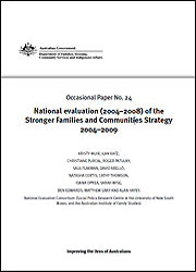 Number 24: National evaluation (2004–2008) of the Stronger Families and Communities Strategy 2004–2009