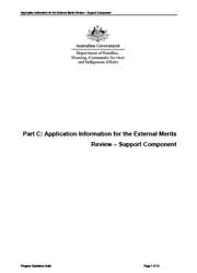 Part C Application Information for the External Merits Review Support Component cover image