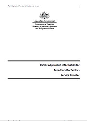 Part C: Application Information for Broadband for Seniors Service Provider Page One
