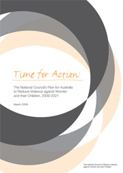 Time for Action: The National Council's Plan for Australia to Reduce Violence against Women and their Children, 2009-2021 cover