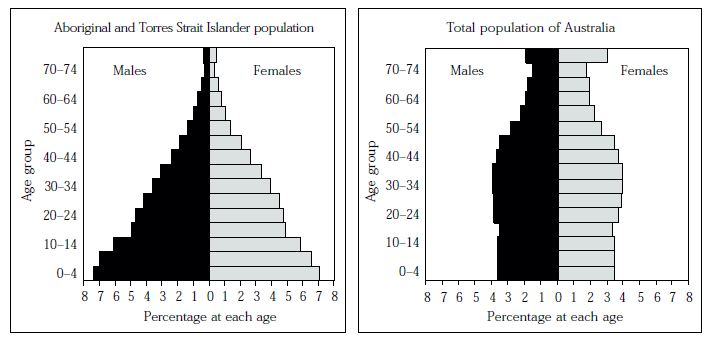 Figure 10: Age-sex structures of the Aboriginal and Torres Strait Islander and total  Australian populations, 1996