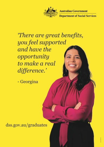 Georgina saying 'There are great benefits, you feel supported and have the opportunity to make a real difference.'