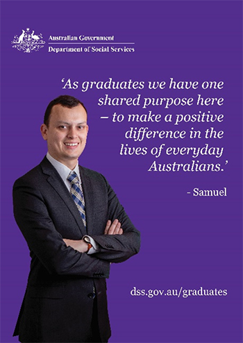 Samuel saying 'As graduates we have one shared purpose here - to make a positive difference in the lives of everyday Australians.'