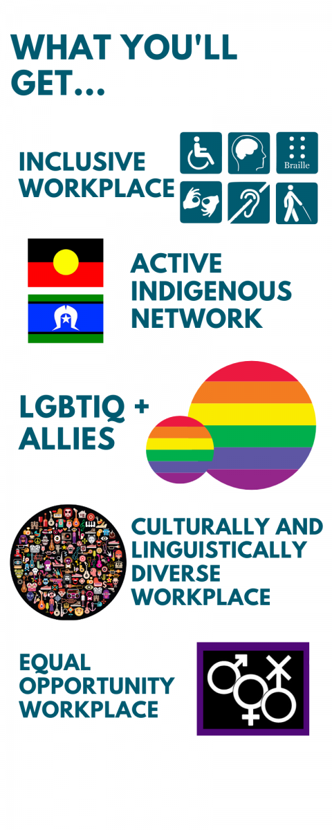 Graphic stating what you will get. Inclusive workplace, active indigenous network, LGBTIQ+ allies, culturally and linguistically diverse workplace, equal opportunity workplace.