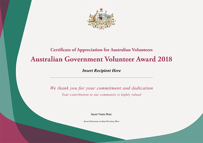 Australian Government Certificate of Appreciation for Volunteers ...