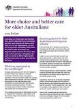 More choice and better care  for older Australians - Cover image