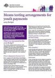 Means testing arrangements for youth payments - Cover image