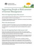 Cover of Supporting People at Risk measure of Income Management