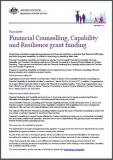 Financial Counselling, Capability and Resilience grant funding - Fact Sheet