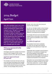 Budget Fact Sheet - Aged Care