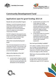 Community Development Fund Generic Fact Sheet Cover Image