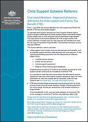 Fact sheet Nineteen: Alignment of income definitions for child support and Family Tax Benefit (FTB) cover image