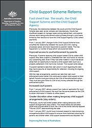 Fact sheet Four: The courts, the Child Support Scheme and the Child Support Agency cover image