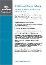 Fact sheet Six: Parentage issues and child support payments cover image