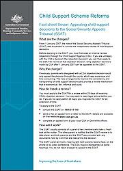 Fact sheet Seven: Appealing child support decisions to the Social Security Appeals Tribunal (SSAT) cover image