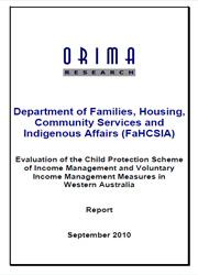 Evaluation of the Child Protection Scheme of Income Management and Voluntary Income Management Measures in Western Australia