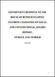 Government's response to the To Have and To Hold report