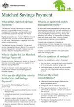 Matched Savings Income Management fact sheet cover image