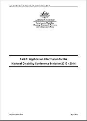 Part C Application Information - National Disability Conference Initiative 2013-14