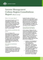 Income Management Ceduna Region Consultations Report cover image