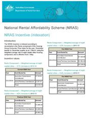 National Rental Affordability Scheme (NRAS) – Incentive (indexation)  cover image