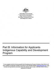 Part B: Information for Applicants - Indigenous Capability and Development Program