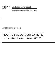 Statistical Paper no. 11: Income support customers: a statistical overview 2012 Page One