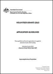 Volunteer Grants 2013 – Application Guidelines